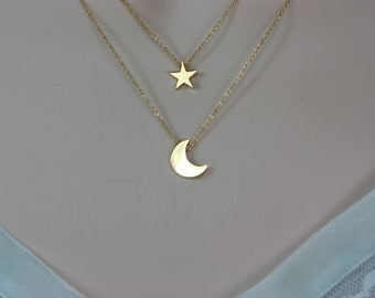 Moon and Star Double Chain Necklace, for Layering, Birthday Gift for Wife, for Sister, Summer Trends, Best of Summer, Summer Fashion, Gift