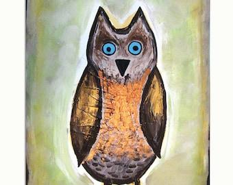 Hoot Owl - 8 x 10, Modern Contemporary Abstract Nursery FINE ART PRINT