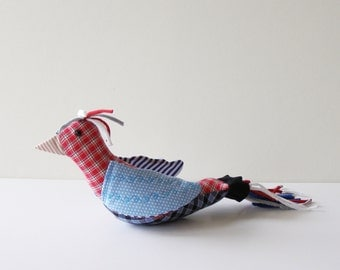 country bird - plaid and polka dot fabric bird with red, white and blue cotton plumage