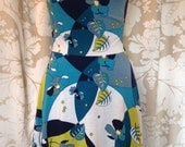 Reversible cowl neck Martha dress in solid aqua and abstract print - LAST ONE-CLEARANCE