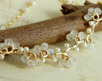 Delicate Moonstone Necklace, Bridal Dainty Necklace, White Pearl Classic Necklace, Gold Filled Sterling Silver