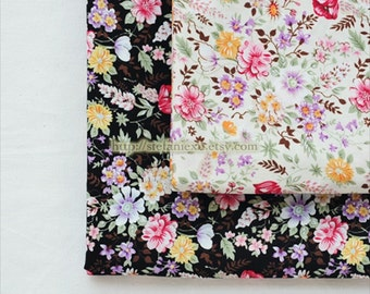 Chic Collection, Shabby Colorful Spring Blooming Floral Garden-Cotton Fabric (1/2 Yard)