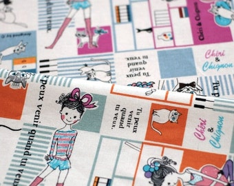 Japanese Linen Cotton Blended Fabric-French Style Dancing Girl Cat Patchwork, Choose One Color (Fat Quarter)