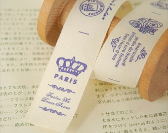 2 Yards Sewing Tape/Ribbon - French Style Vintage Purple Crown Paris Floral Poem(W2.5CM)