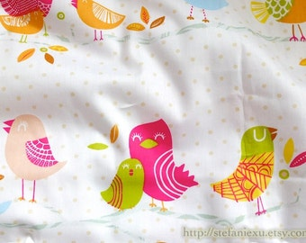 Birds Collection, Lovely Spring Colorful Singing Birds In The Forest - Cotton Fabric (1/2 Yard, 3 Rows Bird Pattern)