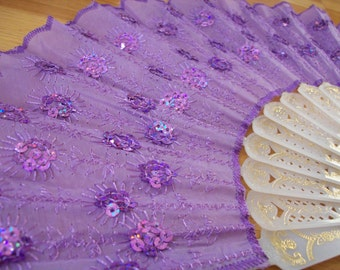 Wedding lavender fan vintage lavender embroidered  fabric with purple sequin menopause hot flash fan