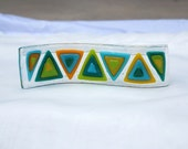 Curvy Photo Holder - turquoise-jade-spring green-yellow triangles
