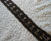 Heavy Duty Dark Chocolate Brown Lace Edged - Hook and Eye Tape - BTY - Steampunk Victorian Grunge Corsets