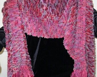 Shawl Handwoven Rose, Grey with Velvet-Like Fringe-SALE