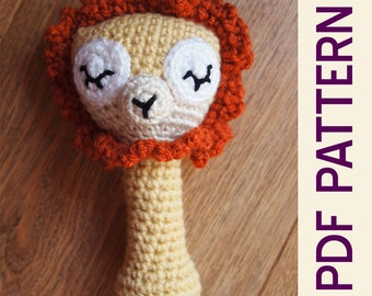 Amigurumi Crochet Sleepy Lion Baby Rattle Pdf Pattern