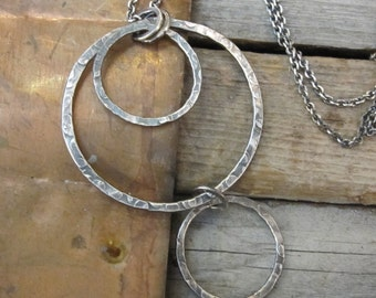 Bubbles Oxidized Sterling Silver Necklace