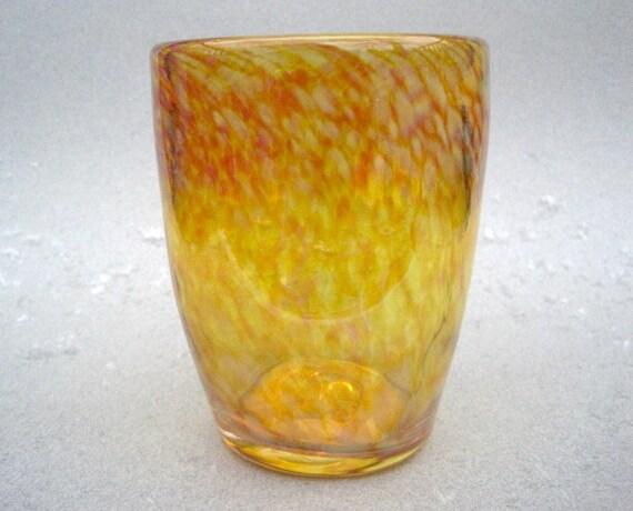 Hand blown gold drinking glass stemless wine beer by horkoverglass - Hand blown stemless wine glasses ...