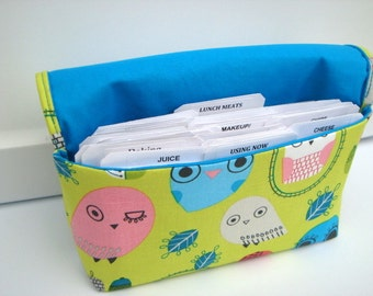 40% Off Coupon Organizer Cash Budget Organizer Holder- Attaches to your Shopping Cart Community Critter Owls in on Lime