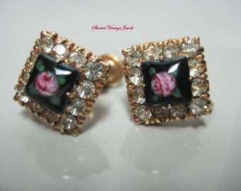 Vintage Guilloche  Rhinestone Earrings Enamel Rose by Vargas