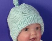 Instant Digital File pdf download knitting pattern -  Baby Garter Stitch Topknot Beanie Hat pdf knitting pattern