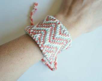 SALE!! Handwoven Coral, Aqua, and White Chevron Cuff Bracelet (original price: 42.00)