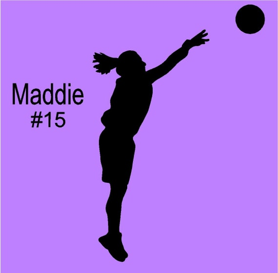 Female Shooting Basketball Player Personalized Name Vinyl Wall Decal