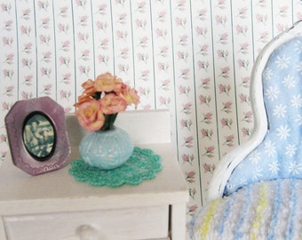 1:12 Turquoise Lace Doily - Embroidered Lace Scale Miniature - Shabby Cottage French Cottage Handmade ** Free Shipping **