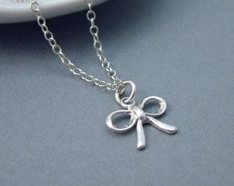 Dainty Silver Bow Necklace Sterling Silver, Minimal, Simple Jewelry, Bowtie Necklace, Tiny Silver Bow