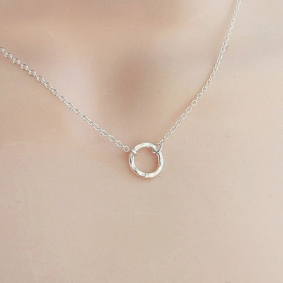 small silver circle necklace sterling silver karma eternity