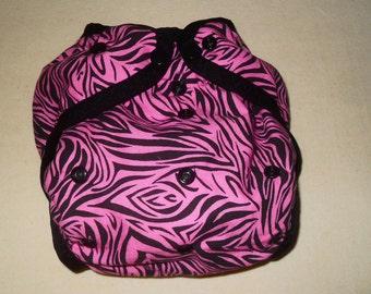 Pink Zebra stripe One size PUL Diaper cover