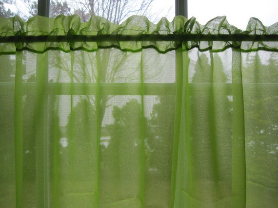 Vintage Sheer Curtain Lime Green Sheer Curtain Panel 88 Long