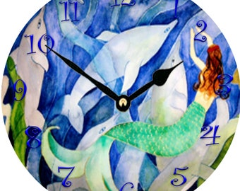 Dolphins and Mermaid party Wall Clock