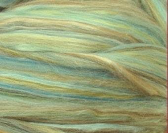 Merino Wool / Silk Roving, Sea Mist , 4 ounces