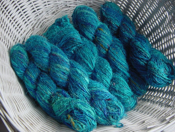 Recycled Sari Silk Yarn,  Blue 3x100gm skeins