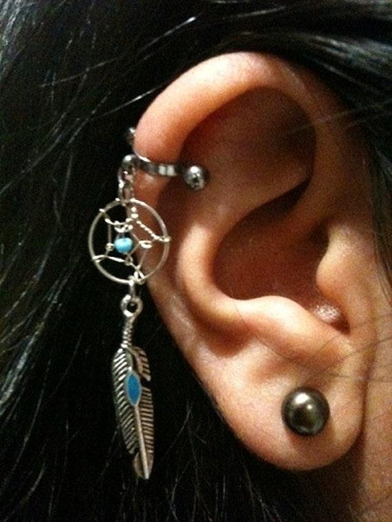 Dream Catcher Helix Earring 40 Gauge Cartilage Helix Industrial Dream Catcher Charm 8