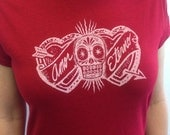 Amor Eterno Skull and Hearts Women's T-shirt in Antique Cherry Red