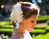 "Birdcage veil 9"" on a 2"" silver comb - Ivory"