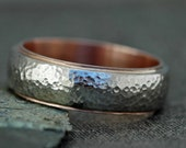 Domed 14k White and Rose Gold Wedding Band- Recycled Gold