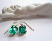 Emerald birthstone earrings. Green emerald earrings. Square vintage emerald cut glass on new 14K gold fill ear wires. Birthstone jewelry.