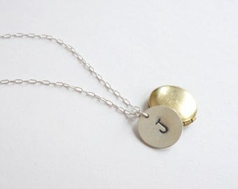 Initial locket necklace with personalized charm. Mixed metal. Sterling silver chain. Brass locket.