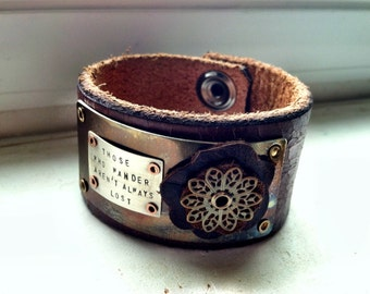 Those Who Wander...Leather Cuff
