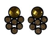 Galaxy perspex earrings gold Swarovski crystals