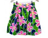 70s Short Gathered Skirt Bright Bold Neon Print, Homemade Short Skirt High Waist Multi Color Med 27 in. waist
