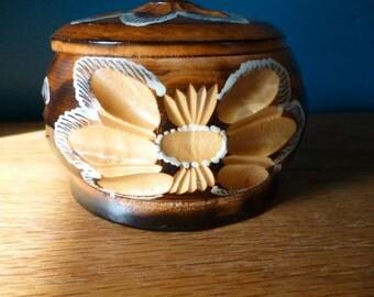 Vintage Hand Carved Wooden Powder or Trinket Box