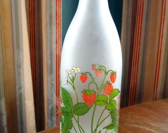 Vintage Frosted Glass Milk Bottle Vase With Strawberries