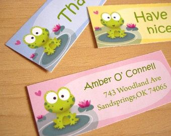 Personalized stickers- Return address labels -Phine the frog- Set of 32