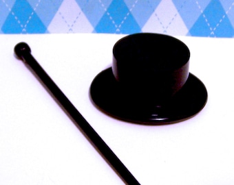 Three Top Hats and Canes or Wands Cake Cupcake Toppers