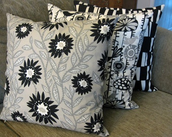 "Decorative Pillow Covers, Set of Three 18"" x 18"", Natural (Cream), Gray , Taupe and Black"