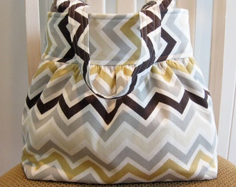 Gray, White, Brown, Cream Chevron Stripe  ( Zigzag )  Handcrafted Gathered Fabric Bag