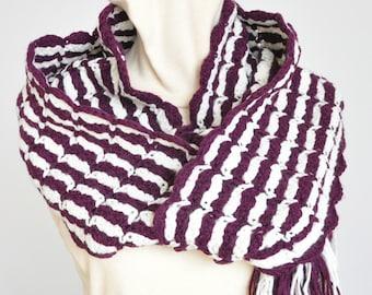 NY SALE - Burgundy Stripe - Crochet 2-color Stripes Long Scarf