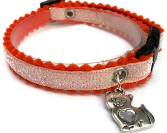 Sparkly Cat Collar Breakaway Style in Orange and Peach