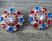 4TH of JuLY Rhinestone Buttons- 2pc Red, Royal and Clear Acrylic Rhinestone Buttons 27mm- Diy Supplies- Headband Supplies