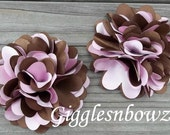 NEW Set of TWO Beautiful Small Satin Puff Flowers- Pink and Brown