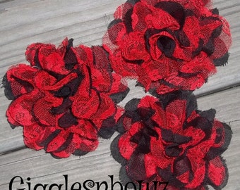 Sale Chiffon Flowers- ReD w BLaCK LaCE- Set of 3 Gorgeous Shabby Chic Frayed Chiffon and Lace Rose Flowers- 3.5 inch Diy Supplies