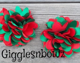 CHRiSTMaS CoLLeCTiON-Set of 2 Small Satin Puff Flowers- RED and EMeRaLD GREEN